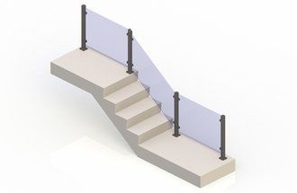 Bronze eGlass Vision™ System - Stair Transition