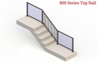 Bronze eGlass Picket™ System - Stair Transition
