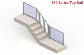 Silver eGlass Picket™ System - Stair Transition