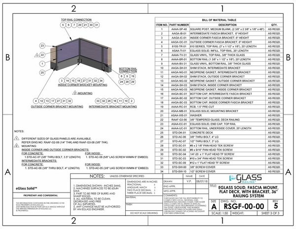 eGlass Solid™ System Drawings - Fascia Mount