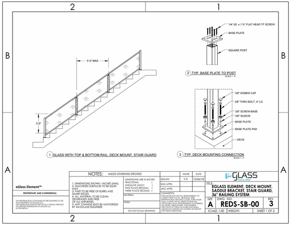 eGlass Element� System Drawings w/ Saddle Bracket