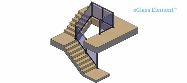 Upper staircase view of indoor stair railing with balcony using the Element system.
