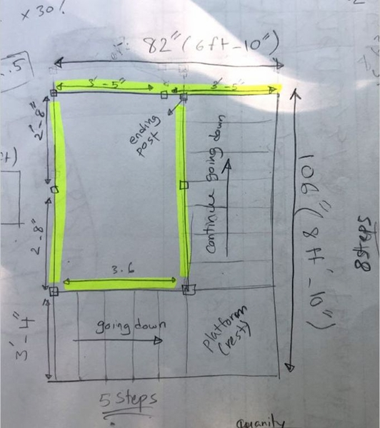 Customer drawing with measurements for balcony stair railing.