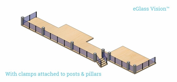 Render with glass clamps attached to posts and pillars.