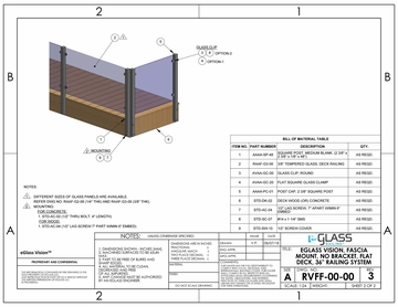 eGlass Vision&trade; System Drawings <br> Fascia Mount w/o Brackets