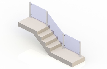 White eGlass Vision™ System - Stair Transition