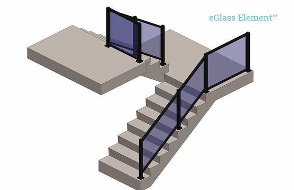 Lower staircase view render of black Element glass railing system.