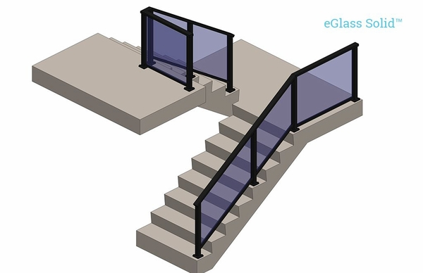 Lower staircase view render of black Solid glass railing system.