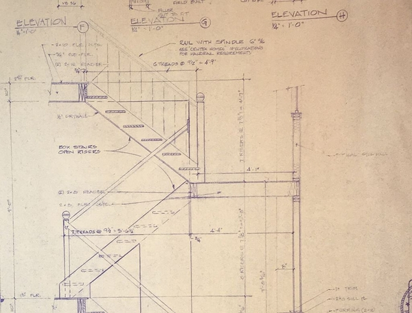 Architectural drawing of staircase.