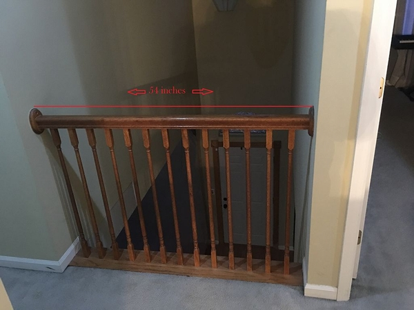 Balcony railing photo with measurement.