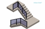 Upper staircase view render of black Solid glass railing system.