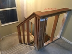 Upper staircase photo with measurements.