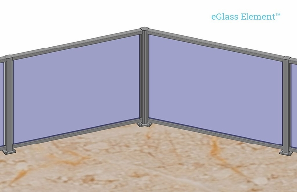 Customer project render of silver eGlass Element 135-degree corner.