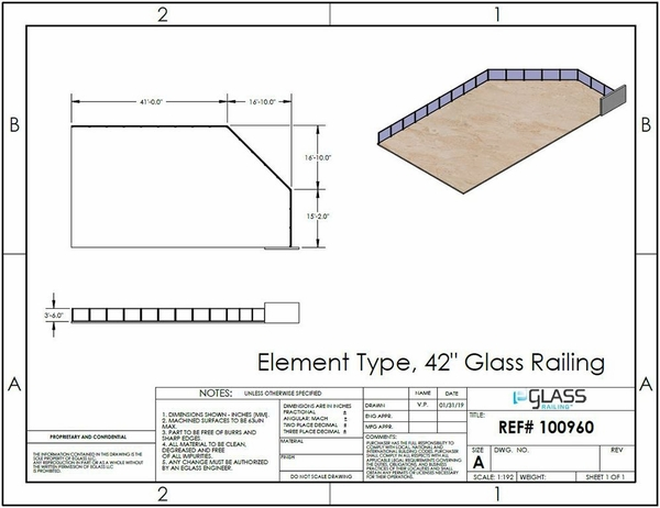 Specifications for customer project of eGlass Element deck mount system in silver.