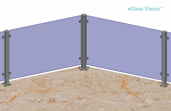 Customer project render of silver eGlass Vision 135-degree corner.