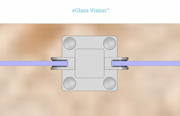 Customer project render closeup view of eGlass Vision round glass clamps.