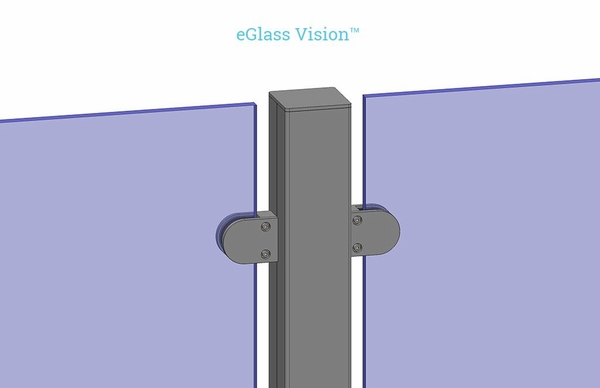 Customer project render top side view of eGlass Vision glass clamps attached to post.