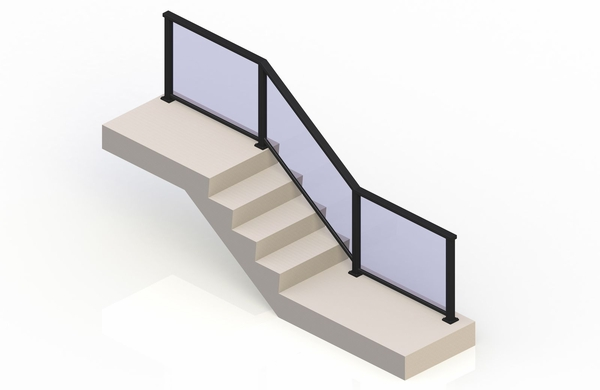 Black eGlass Solid� System - Stair Transition