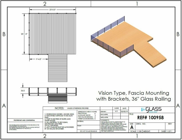 Silver Vision Deck Project Fascia Mount without Brackets Specifications.