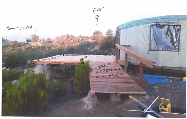 Customer project photo with railing locations and measurements noted.