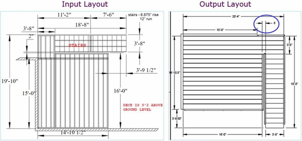 """Customer provided drawing of deck and stairs with measurements paired with revised drawing with 6"""" added between deck rail and stair rail."""