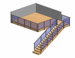 Outer view render of large angled deck project using silver Element glass railing system