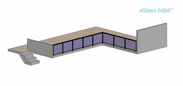 Render of indoor glass railing balcony using Solid system.
