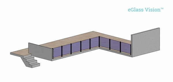 Render of indoor glass railing balcony using Vision system.