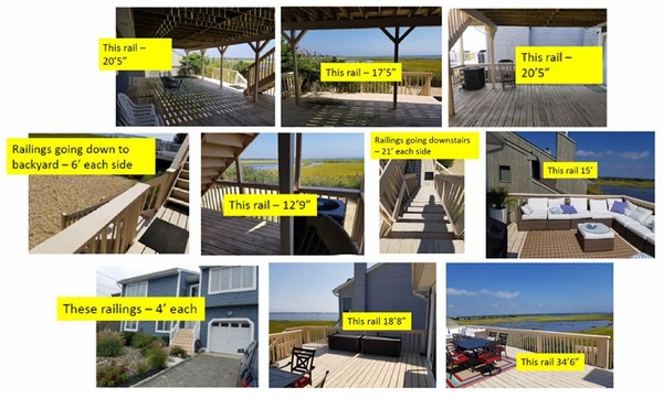 Photo collage of railing runs and measurements.