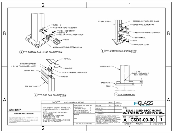 eGlass Solid� System Drawings - Deck Mount for Stairs