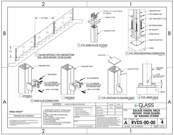 eGlass Vision�System Drawings - Deck Mount for Stairs