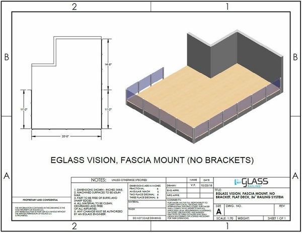 White Vision Fascia Mount without Brackets Deck Project Specifications