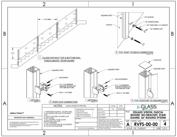 eGlass Vision� System Drawings - Fascia Mount w/o Brackets for Stairs