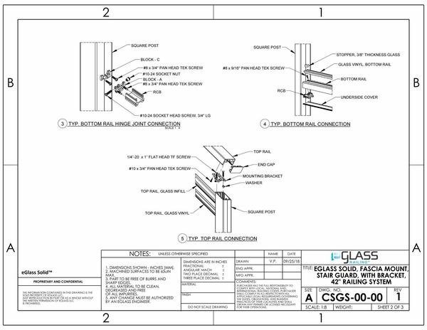 eGlass Solid� System Drawings - Fascia Mount for Stairs