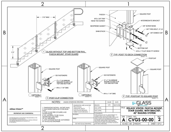eGlass Vision™ System Drawings - Fascia Mount for Stairs