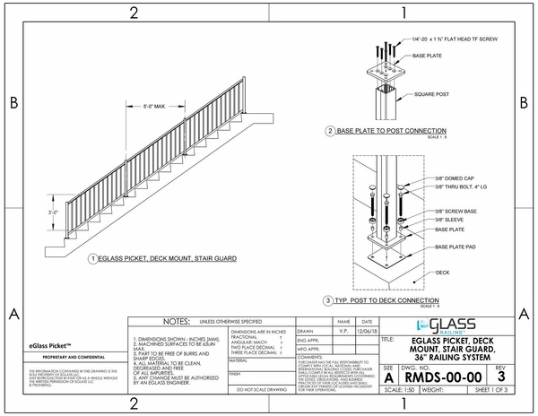 eGlass Picket� 800 Series Drawings - Deck Mount
