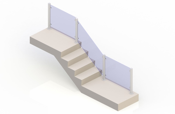 White eGlass Vision� System - Stair Transition