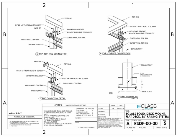 eGlass Solid� System Drawings - Deck Mount