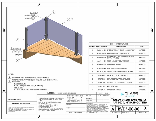 eGlass Vision� System Drawings - Deck Mount