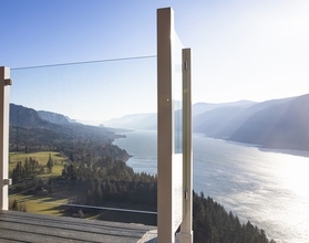 White Aluminum Glass Railing - Columbia River Gorge, WA