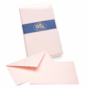 G. Lalo Verge de France Deckled-Edge Correspondence Sets (3.75 x 6) in Rose