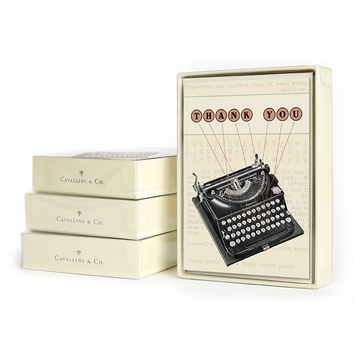 Cavallini Boxed Thank You Notecards (3.75 x 5.25) in Typewriter Thank You