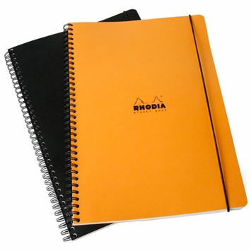 Rhodia Side Spiral Bound A4 Lined Elasti Book (8.25 x 11.75)