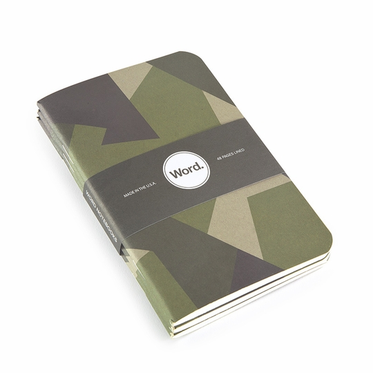 Word Pocket Ruled Notebook (Set of 3) (3.5 x 5.5) ( Swedish Camo )