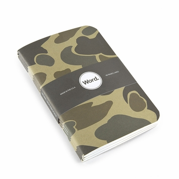 Word Pocket Ruled Notebook (Set of 3) (3.5 x 5.5) in Tan Camo