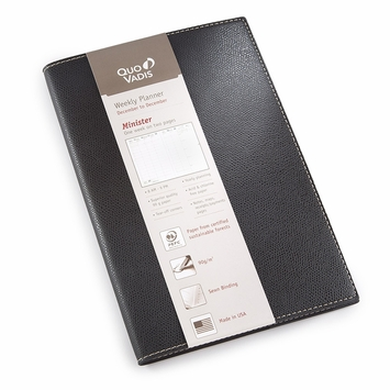 Quo Vadis 2022 Minister Weekly Planner with Club Cover (6.25 x 9.375) Black