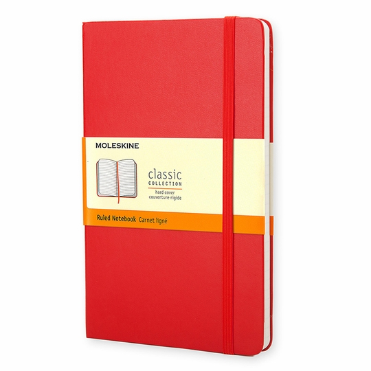 Moleskine Classic Large Hard Cover Notebook (5 x 8.25) ( Scarlet Red )