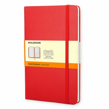 Moleskine Classic Large Hard Cover Notebook (5 x 8.25) Scarlet Red
