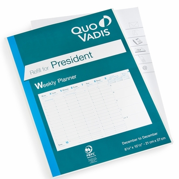 Quo Vadis 2021 President Desk Weekly Planner Refill #16 (Ref. #1601) (8.25 x 10.5)