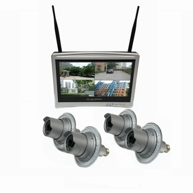 """4 Camera / 12"""" All-in-One Monitor NVR Kit Complete Survillance System"""